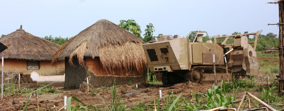 Armoured truck in a South Sudanese village