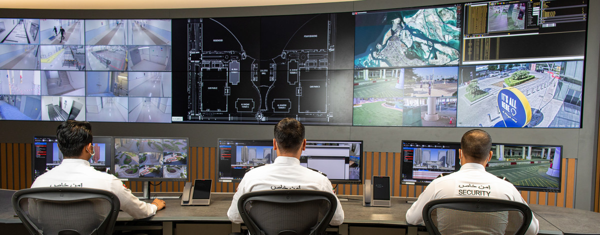 Security officers in a control room