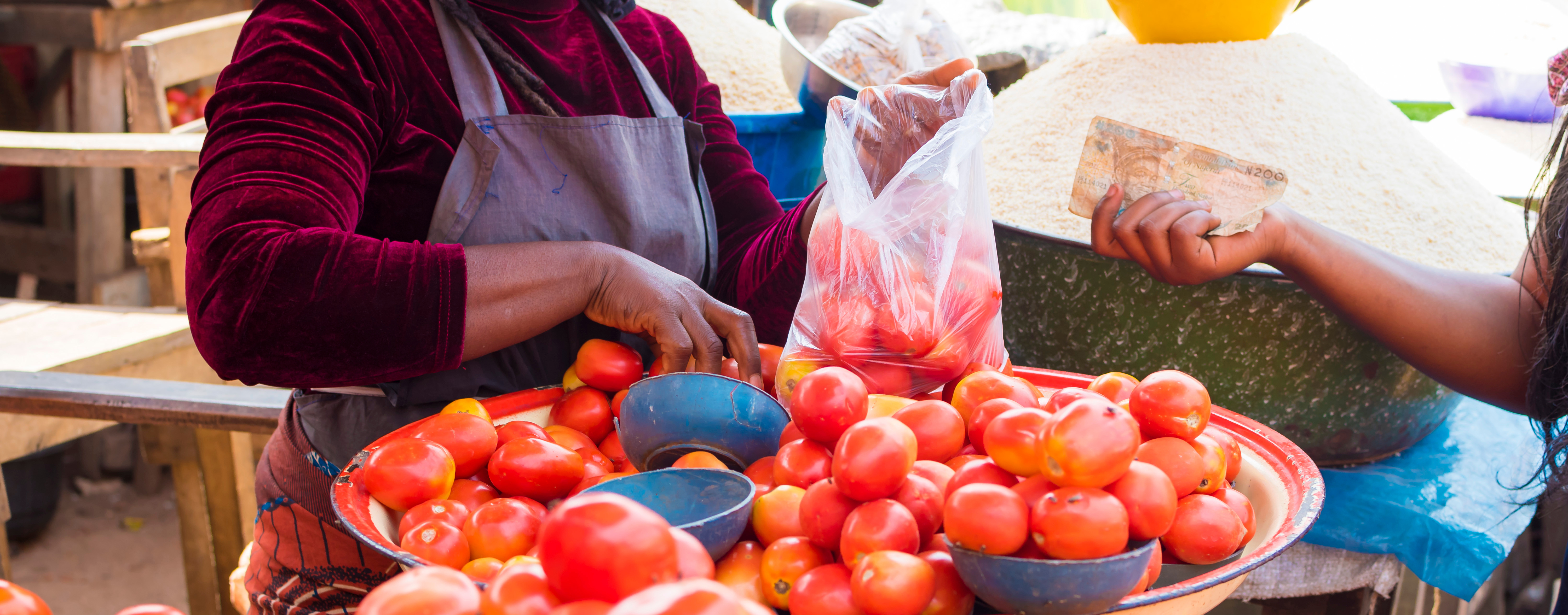 Woman at market buying tomatoes with cash