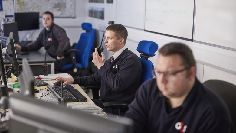 G4S staff working in a control centre
