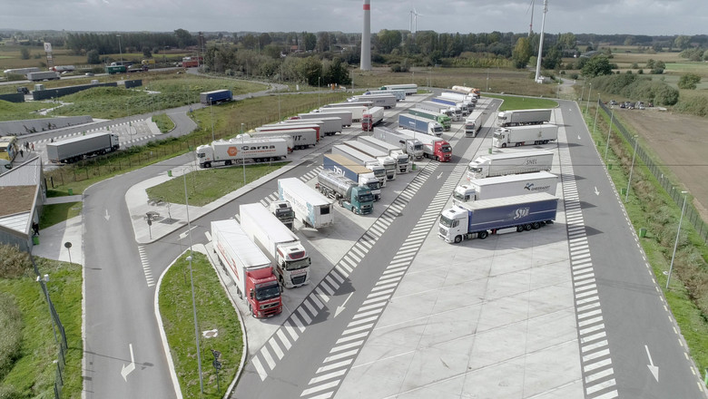 Belgium truck park bird's eye view