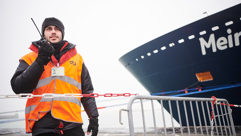 Security officer guarding the Port of Zeebrugge