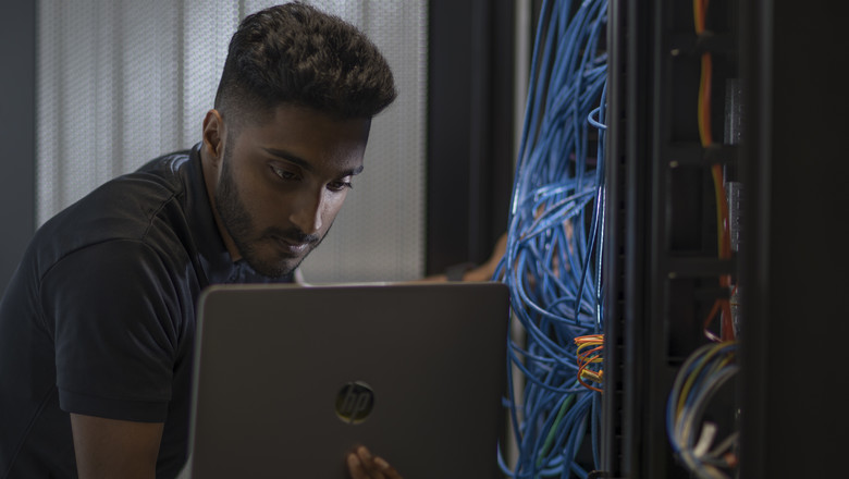 G4S Engineer configuring a server