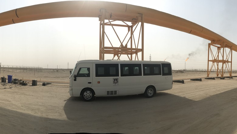 Bus driving for G4S on road in Iraq