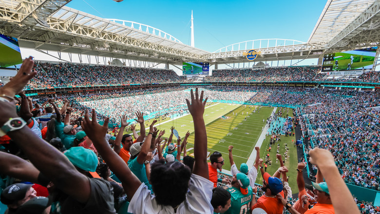 Miami Dolphins fans at the Hard Rock stadium in Miami