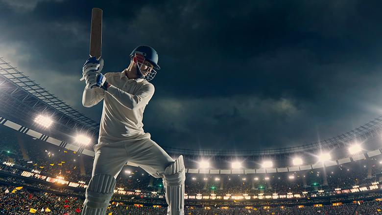 Cricket player in a stadium