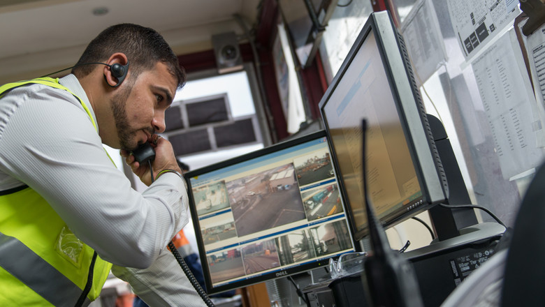 Security officer monitoring CCTV