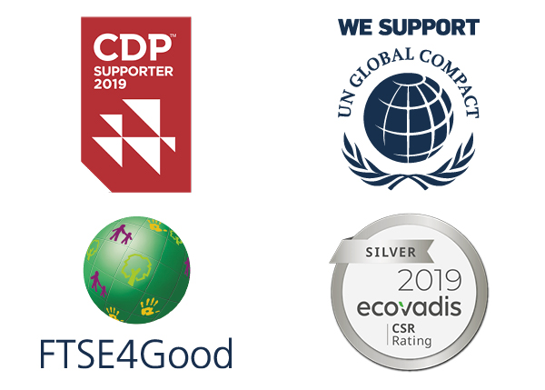 Reporting Frameworks Logos, CDP, UN Global Compact, FTSE4Good, EcoVadis