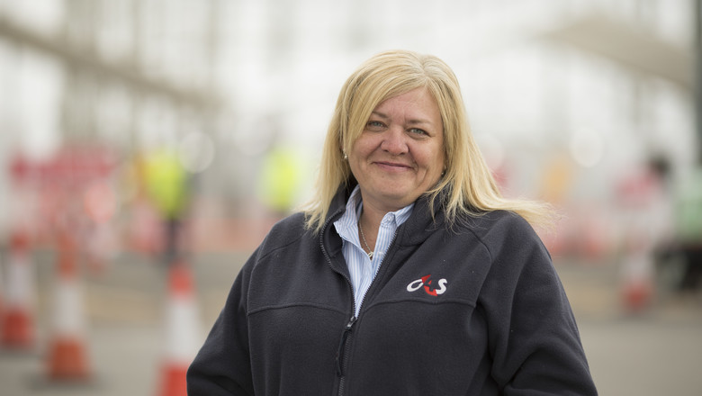 Jo Pipes, a G4S account manager, at a COVID-19 test site in Manchester