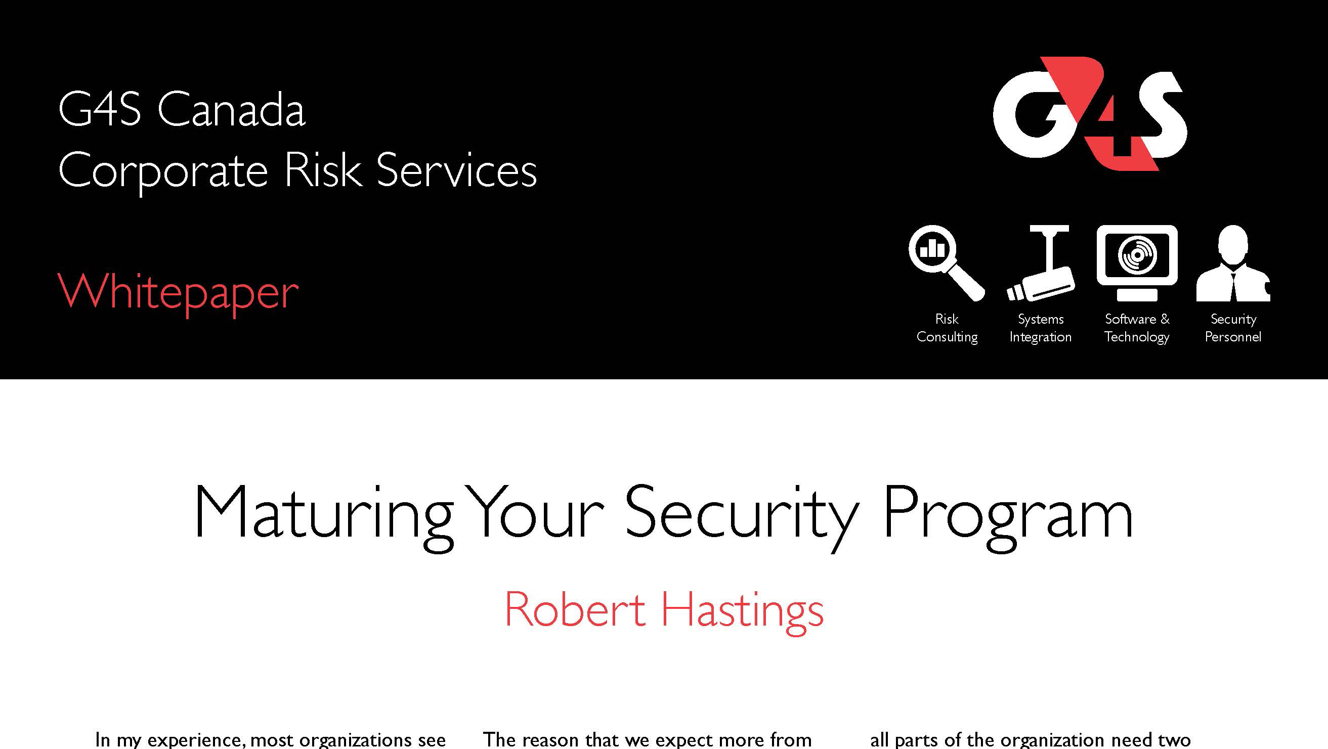Maturing your security program