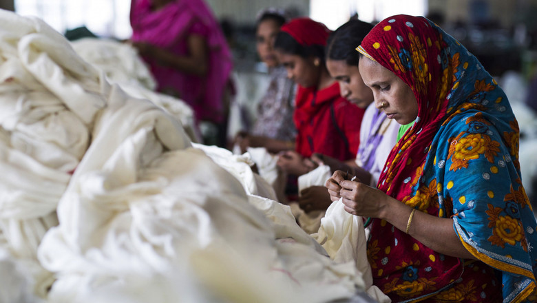 Woman working in garment factory