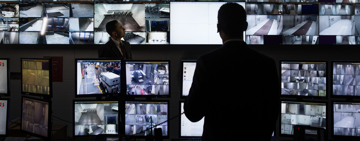 Security officer in a control centre