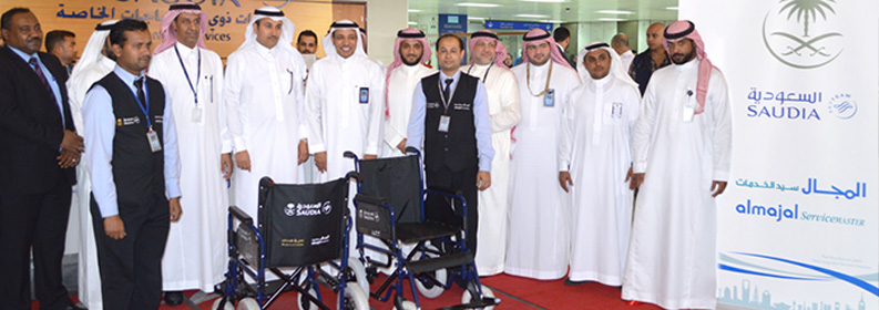 Saudi Airlines & almajal has upgraded Wheelchair Services at the three  international  stations (Jeddah/Riyadh & Dammam)