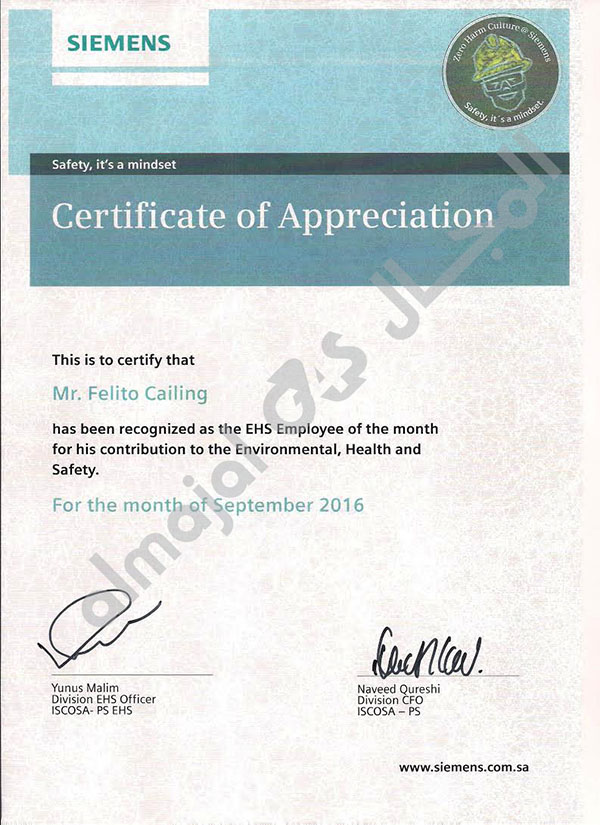 Certificate of Appreciation from SIEMENS Company litter