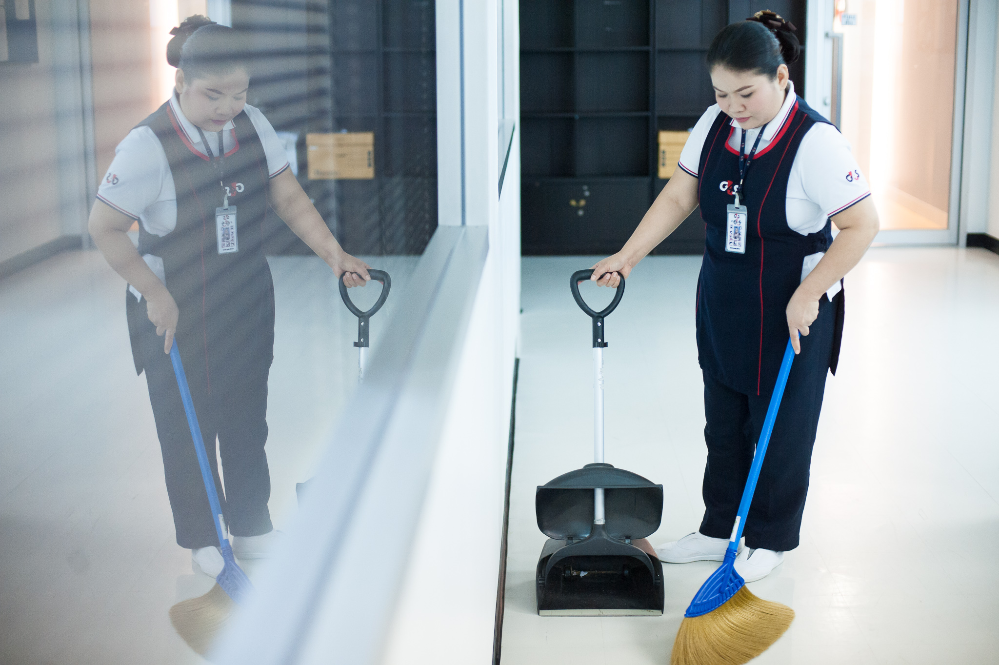 Maid is cleaning floor