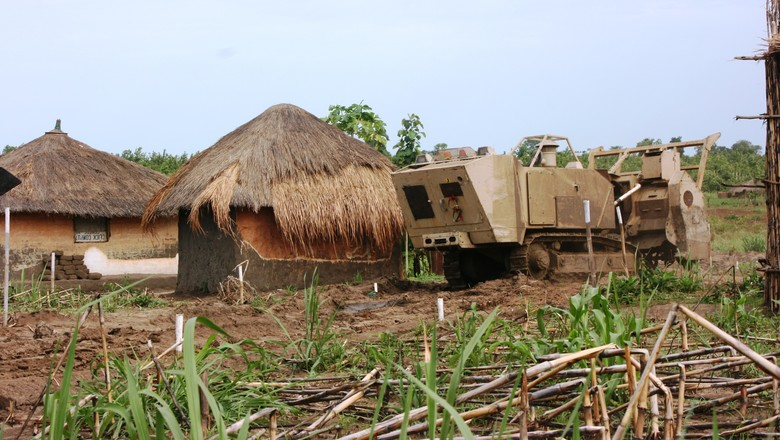 Armoured truck in South Sudanese village