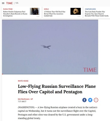 Low-Flying Russian Surveillance Plane Flies over Capitol and Pentagon