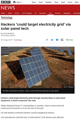 Hackers Could Target Electricity Grids via Solar Panel Technology