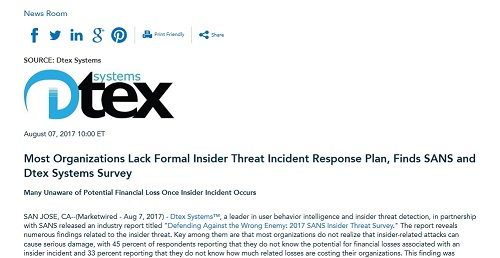 Most Organizations Lack Formal Insider Threat Incident Response Plan