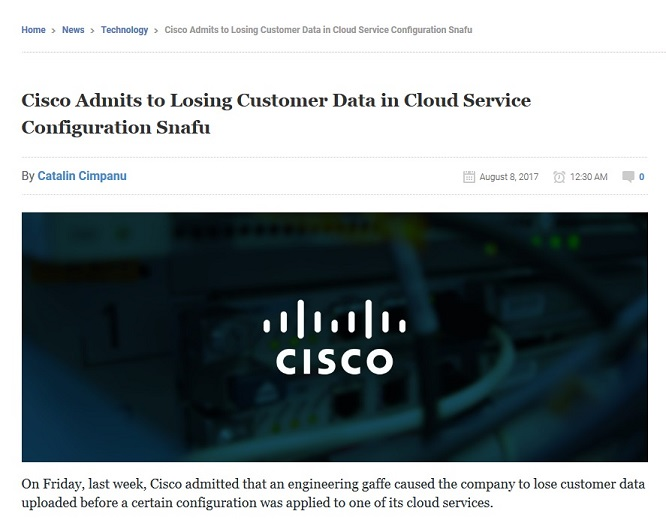 Cisco Admits to Losing Customer Data in Cloud Service Configuration
