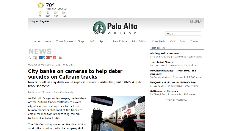City banks on cameras to help deter suicides on Caltrain tracks