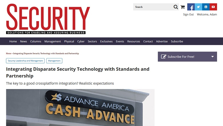 Integrating Disparate Security Technology with Standards and Partnership