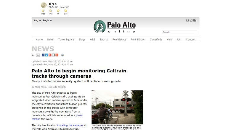 Palo Alto to begin monitoring Caltrain tracks through cameras
