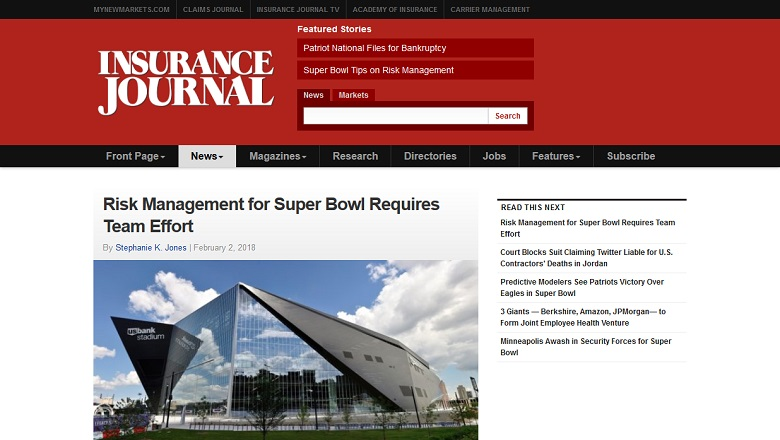 Risk Management for Super Bowl Requires Team Effort
