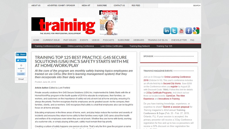 Training Top 125 Best Practice: G4S Secure Solutions (USA) Inc.'s Safety Starts with Me at Home/Work/Play