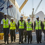 Group of Security Officers at port in Cape Town, South Africa