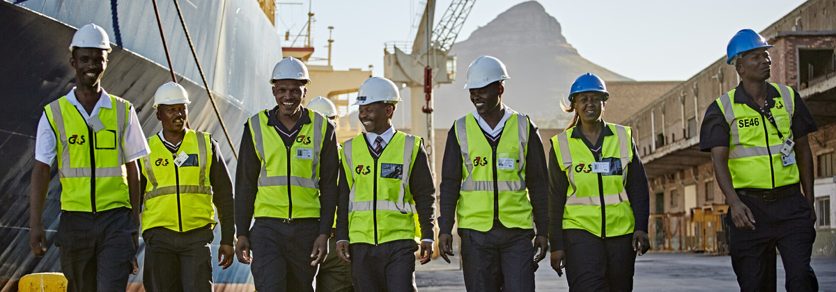 Group of Security Officers patrolling at port in Cape Town, South Africa