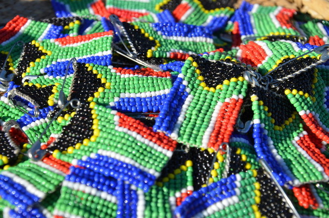 Beaded South African flags